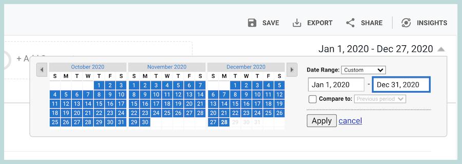 בחירת תאריכים באנליטיקס